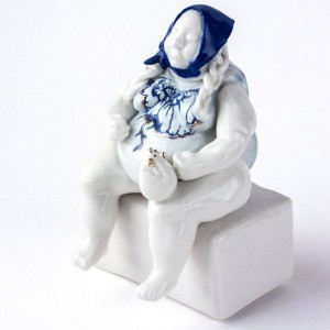 Woman in blue kerchief, Porcelian Figurine