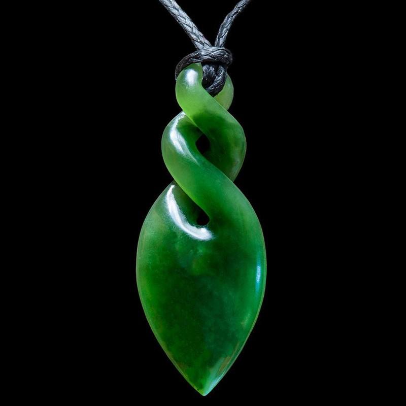 Small Jade Maori Style Double Twist Jade Necklace by Luke Gardiner