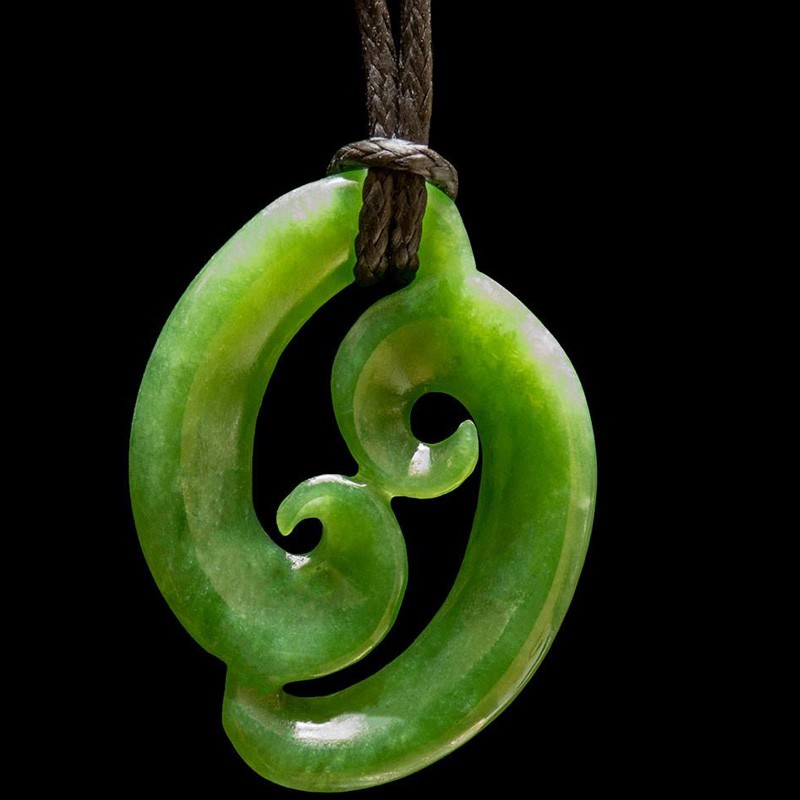 Hand Crafted Jade Double Koru Necklace