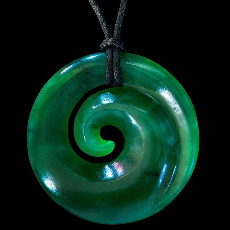 Hand Crafted Jade Single Koru Necklace by Ewan Parker