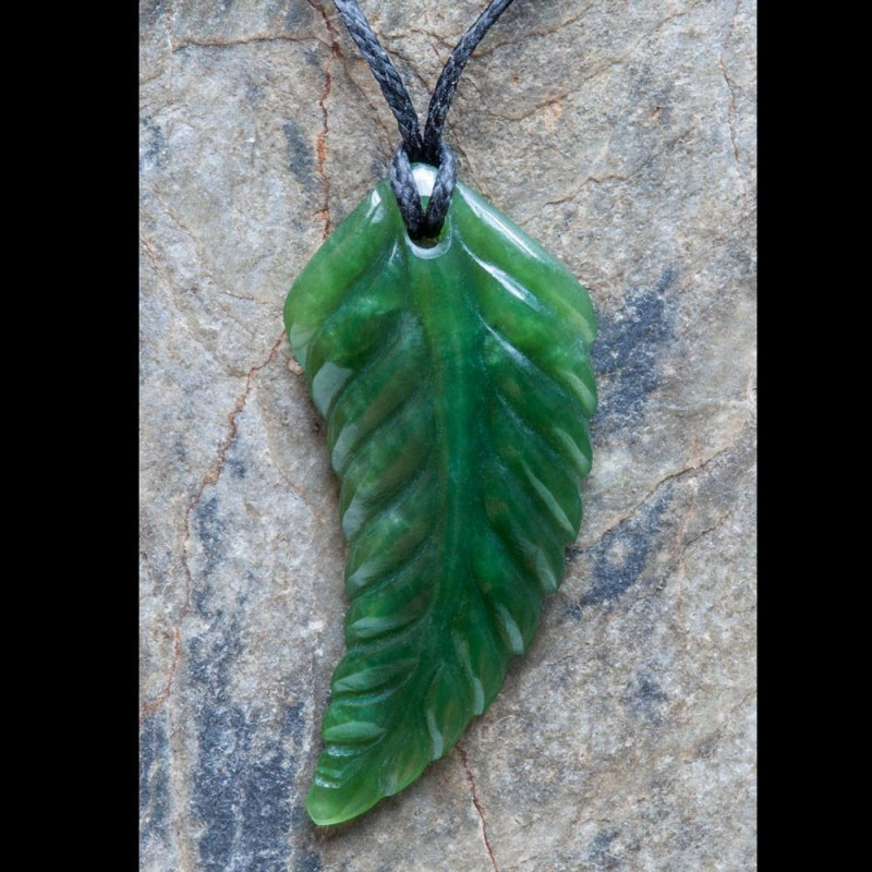 Small Hand Carved Jade Leaf Necklace