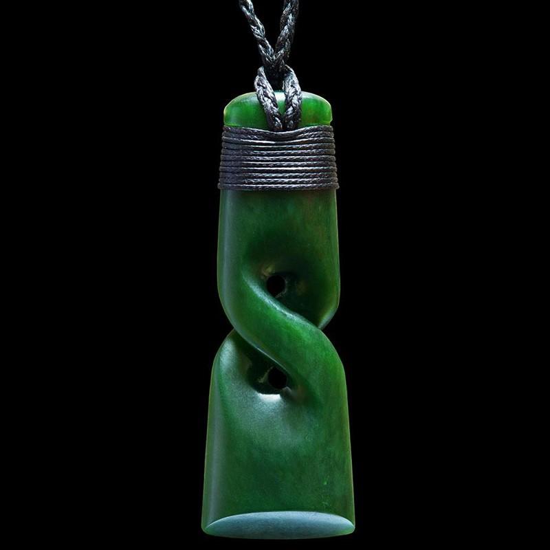 Hand Carved Jade Toki with Twist Necklace by Ewan Parker