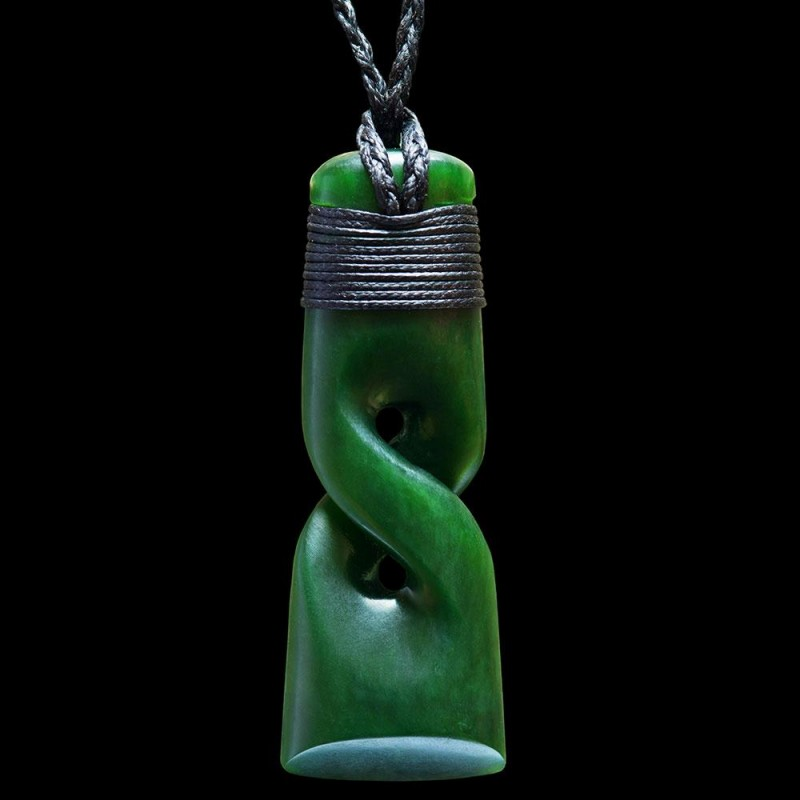 Hand Carved Jade Toki Twist Necklace