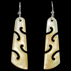 Gold Pearl Shell Koru Drop Earrings