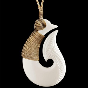 Hand Carved Bone Fish Hook Necklace