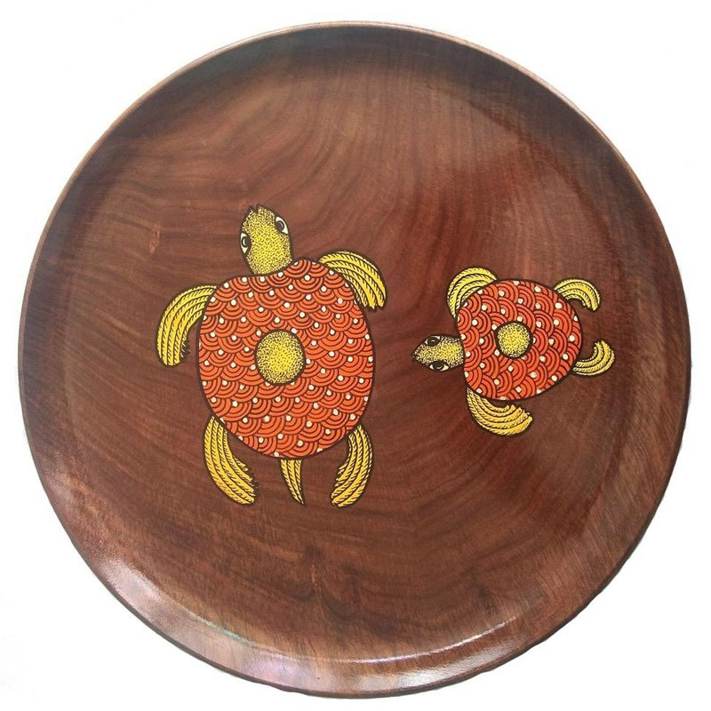 Gond Painted Wooden Plate