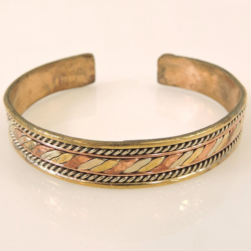 Three Metal Flat Twusted Center Cuff Bracelet