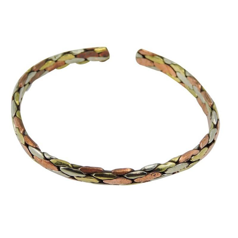 Handmade Twisted Three Metal Healing Bracelet