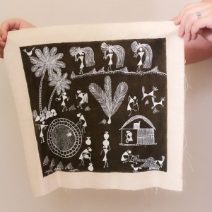 Tan and White Warli Tribal Painting on Cloth