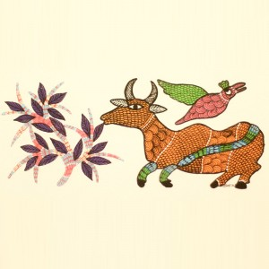 Cow and Bird Painted in Traditional Indian Gond Style