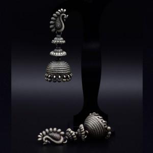 Handmade traditional peacock silver jhumka