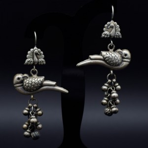 Handmade traditional silver parrot earrings