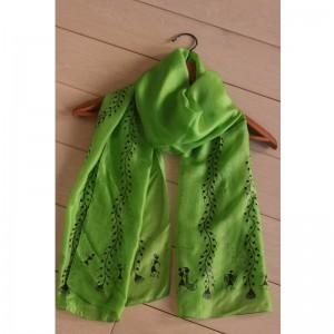 Green Teppi Silk Stole with Handpainted Warli Tribal Art
