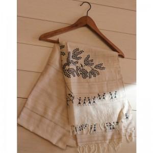 Beige Tussar Silk Stole with Handpainted Warli Tribal Art