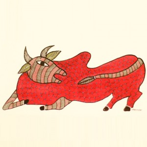 Red Bull Painted in Traditional Indian Gond Style