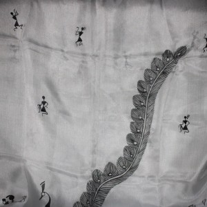 White Teppi Silk Stole with Handpainted Warli Tribal Art
