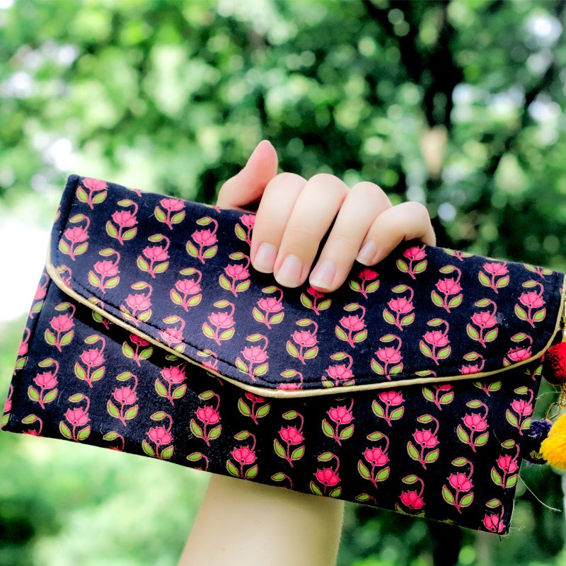 Upcycled Black Silk Clutch