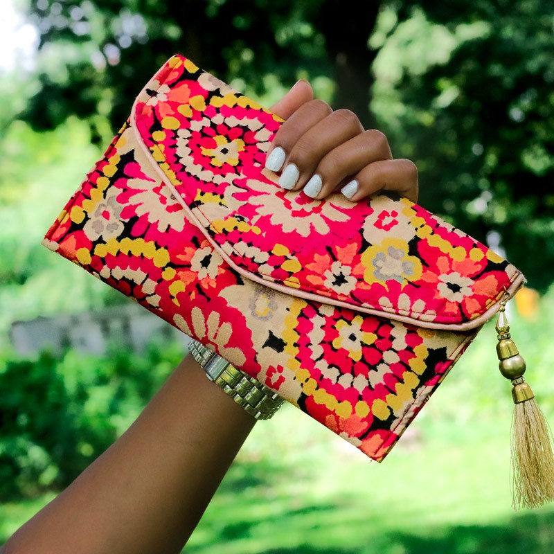 Upcycled Red Silk Clutch