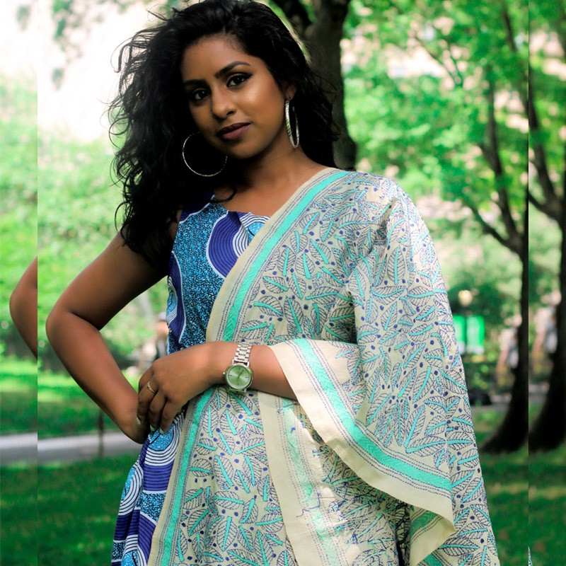Beige and Blue Silk Stole with Handembroidery in Indian Kantha Style