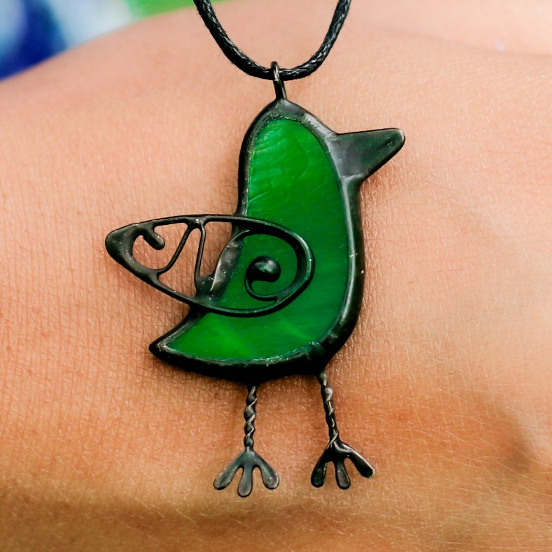 Green Stained Glass Bird Necklace