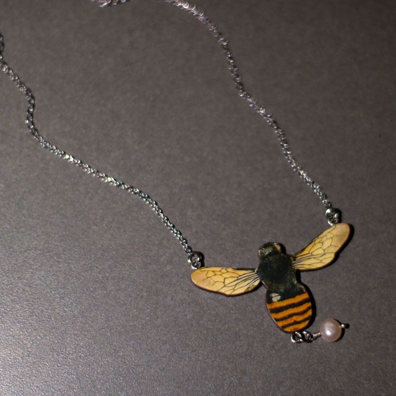 Bee with Baroque Pearl Statement Necklace