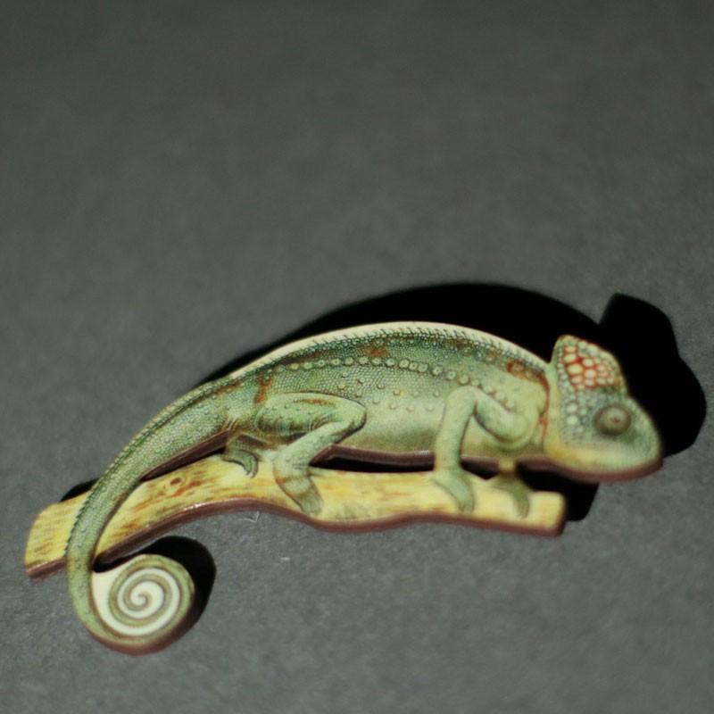 Chameleon Shaped Wooden Brooch
