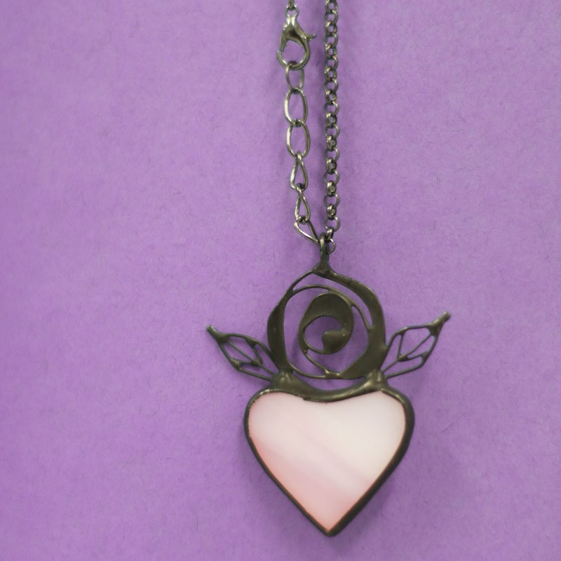 Light Pink Stained Glass Heart Necklace with leaves