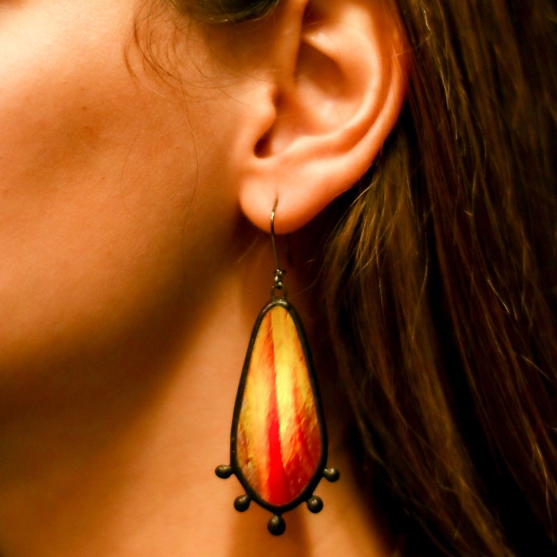 Red Dangling Stained Glass Statement Earrings