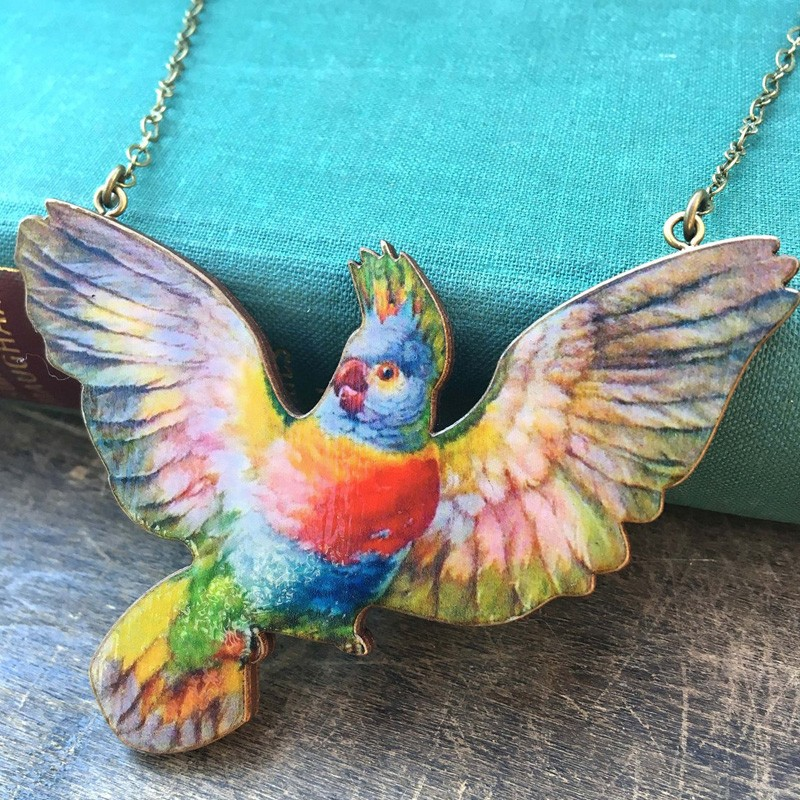 Flying Parakeet Wooden Statement Necklace
