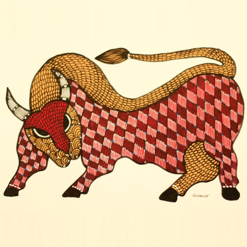 Red and Yellow Bull Painted in Traditional Indian Gond Style
