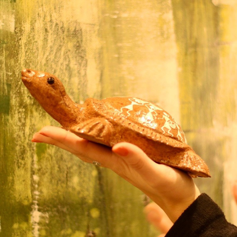 Handpainted Eco-Friendly Papier Mache Turtle