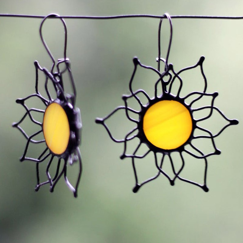 Sunflower Yellow Stained Glass Statement Earrings