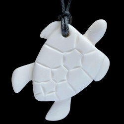 small hand crafted turtle bone carving necklace