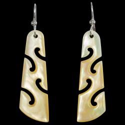 Gold Pearl Shell Koru Drop Earrings