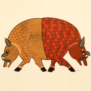 2 Bulls Painted in Traditional Indian Gond Style
