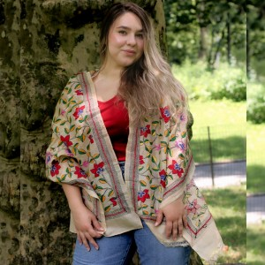 Silk Stole with Multi-Colored Handstitched Flowers in Indian Kantha Style