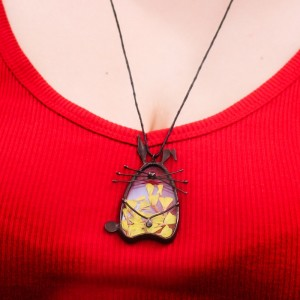 Nature Inspired Bunny Terrarium Necklace with Real Yellow Flowers