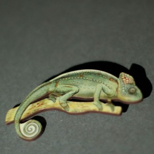 Chameleon Shaped Wooden Brooch