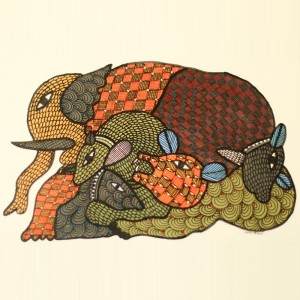 Forest Animals Painted in Traditional Indian Gond Style
