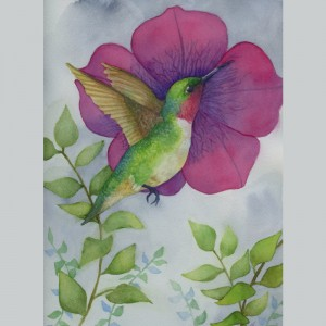Hummingbird Watercolor Painting