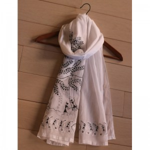 White Cotton Stole with Handpainted Warli Tribal Art and Applique Work