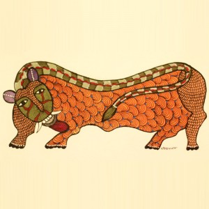 Orange Bull Painted in Traditional Indian Gond Style