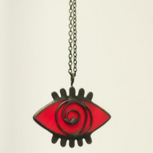 Red Stained Glass Evil Eye Statement Necklace