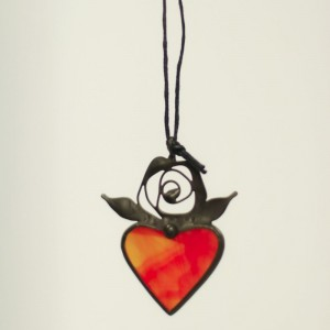 Red Heart Stained Glass Necklace with Delicate Leaves