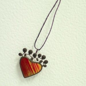 Red Stained Glass Heart Statement Necklace
