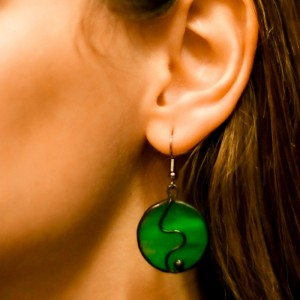 Deep Green Stained Glass Statement Earrings